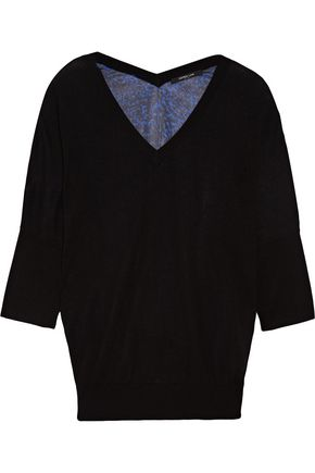 DEREK LAM Paneled cashmere and silk-blend sweater