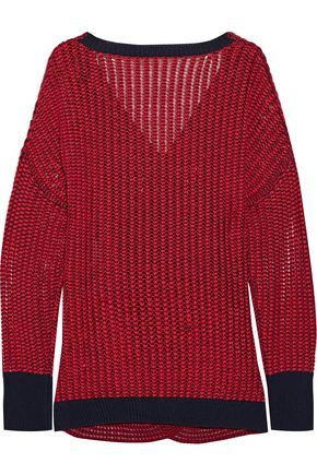 10 CROSBY DEREK LAM Wrap-effect open-knit cotton sweater