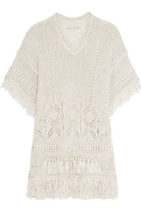 ALICE + OLIVIA Janine fringed open-knit sweater