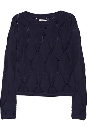 MILLY Pointelle-knit cotton-blend sweater