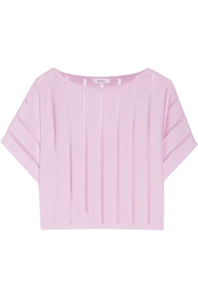 MILLY Illusion organza-trimmed knitted sweater
