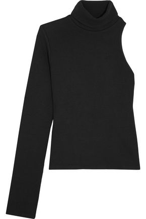 BEAUFILLE Portia one-shoulder ribbed-knit turtleneck sweater