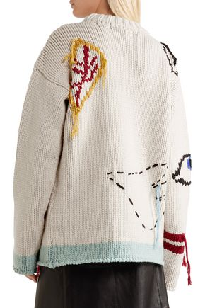 JOSEPH Tree fringed intarsia wool sweater