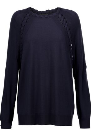 BELSTAFF Cable knit-trimmed cashmere, wool and silk-blend sweater