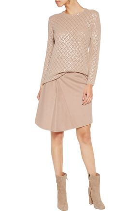 PRINGLE OF SCOTLAND Sequinned open-knit cashmere sweater