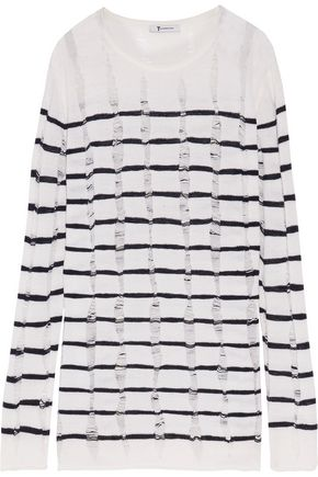 T by ALEXANDER WANG Open knit-trimmed striped merino wool sweater