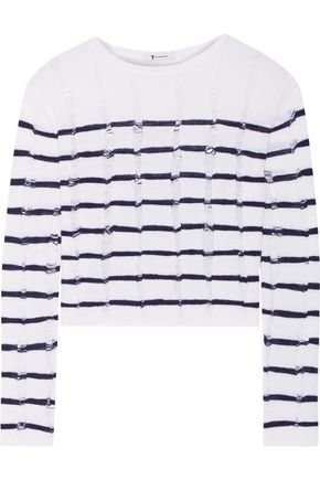 T by ALEXANDER WANG Cropped striped open-knit merino wool sweater