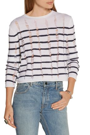 T by ALEXANDER WANG Cropped striped open-knit merino wool sweater