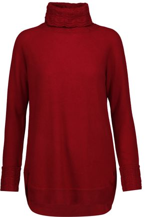 MAGASCHONI Cable knit-trimmed cashmere turtleneck sweater