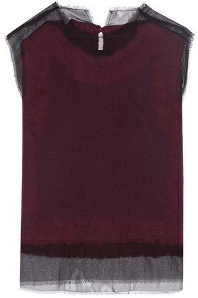 MAISON MARGIELA Silk-georgette trimmed cashmere top
