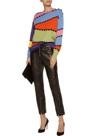 MOSCHINO Embroidered wool and cashmere-blend sweater