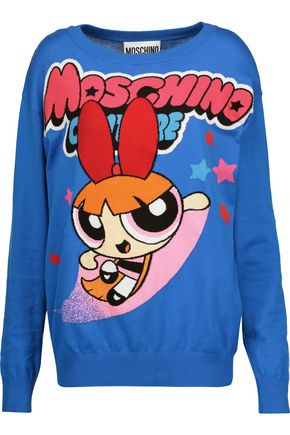 MOSCHINO Intarsia cotton-jersey sweater