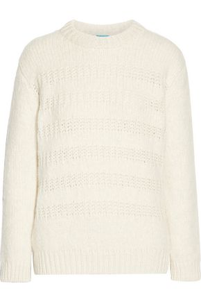 M.I.H JEANS Dryden open knit-trimmed alpaca-blend sweater