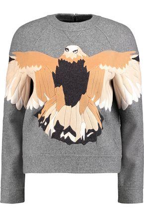 VALENTINO Appliquéd wool-blend felt sweater