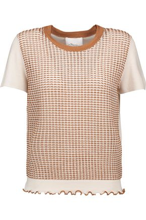 3.1 PHILLIP LIM Paneled open-knit wool-blend top