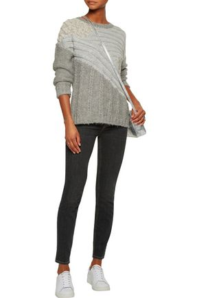 CURRENT/ELLIOTT The Mixed metallic cable-knit sweater