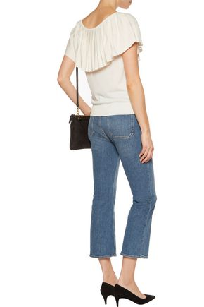 MAJE Manosque pleated ribbed-knit top
