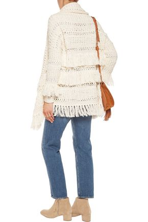 MAJE Draped open-knit cotton-blend cardigan