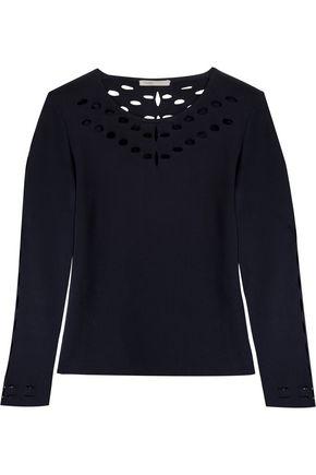 MAJE Mathilde open knit-trimmed stretch-knit sweater