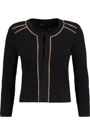 MAJE Crystal-embellished ribbed stretch-knit cardigan
