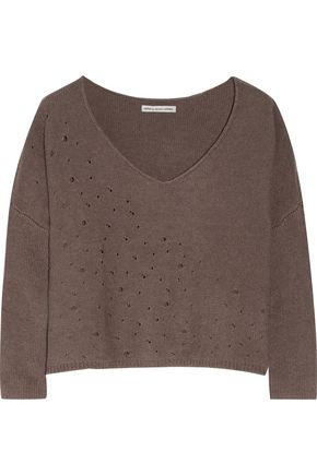 AUTUMN CASHMERE Cropped distressed cotton sweater