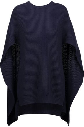 AUTUMN CASHMERE Cape-back ribbed-knit sweater