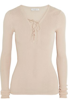 SANDRO Sacha lace-up ribbed-knit sweater