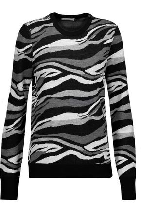 EQUIPMENT Ondine zip-embellished printed wool sweater