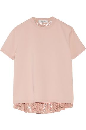 VALENTINO Paneled pleated cotton-blend lace and stretch-knit top
