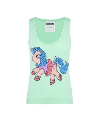 Little Pony Sleeveless Intarsia Knit Top, Light Green