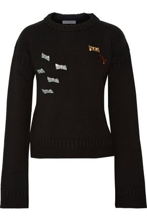 J.W.ANDERSON Brooch-embellished merino wool sweater