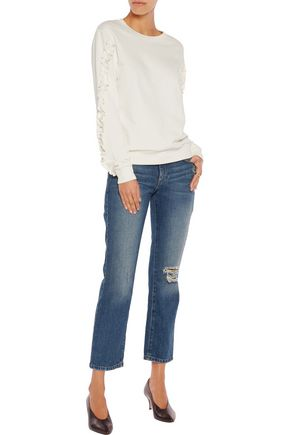 IRIS AND INK Pat ruffle-trimmed cotton-jersey sweater