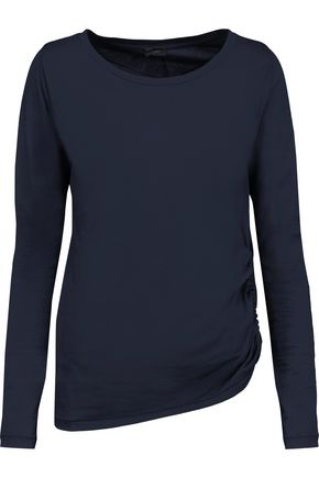 JOSEPH Ruched cotton and cashmere-blend jersey top