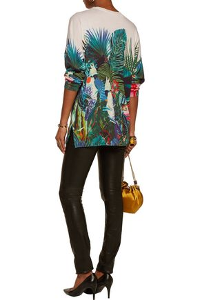 ROBERTO CAVALLI Printed cotton and silk-blend sweater