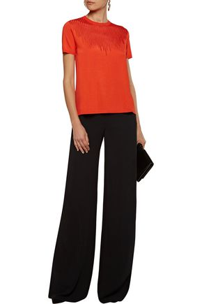 ROBERTO CAVALLI Open knit-trimmed paneled stretch-knit top