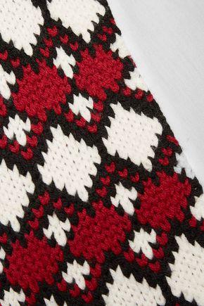 SEA Fair Isle cotton poplin-paneled wool turtleneck sweater