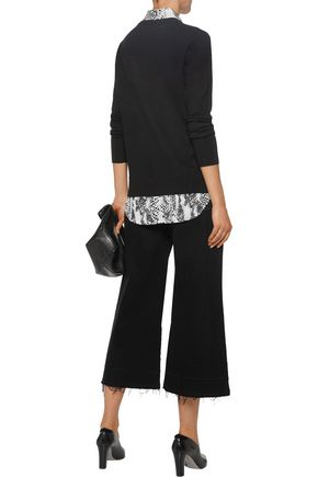 EQUIPMENT FEMME Cecile washed silk-paneled wool and cashmere-blend sweater