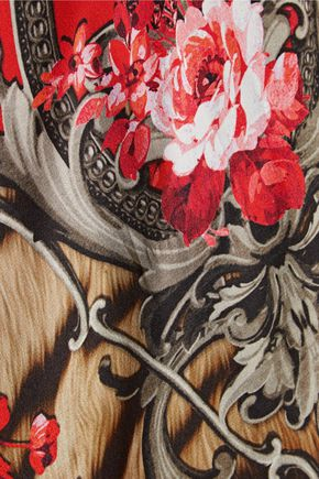 ROBERTO CAVALLI Paneled printed silk crepe de chine and wool-blend cardigan