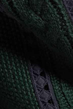 SEA Cotton lace-paneled cable-knit sweater