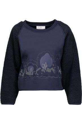 ADIDAS by STELLA McCARTNEY Teddy fleece-paneled embroidered neoprene sweatshirt