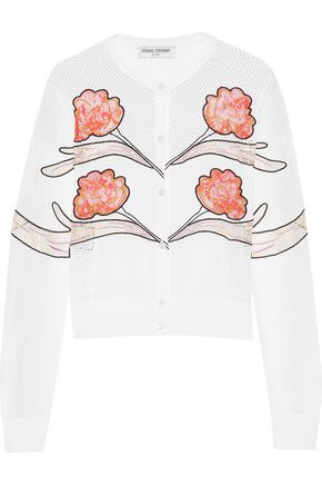 OPENING CEREMONY Gestures embroidered lace and mesh-paneled jersey cardigan