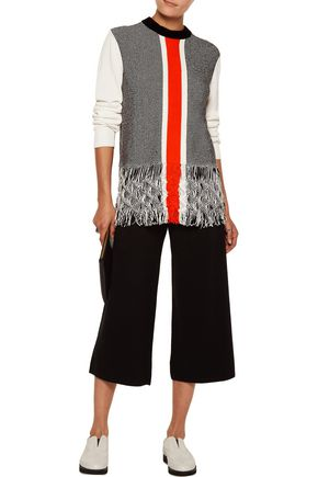 OPENING CEREMONY Paneled fringed striped cotton-blend sweater
