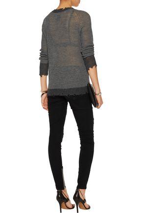 RTA Cassandra two-tone open-knit sweater