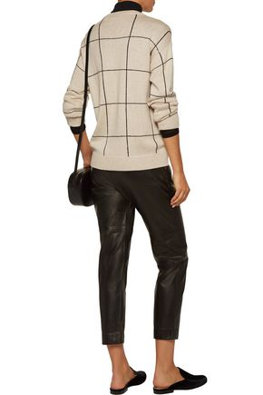 BRUNELLO CUCINELLI Sequined checked intarsia-knit cashmere and silk-blend sweater