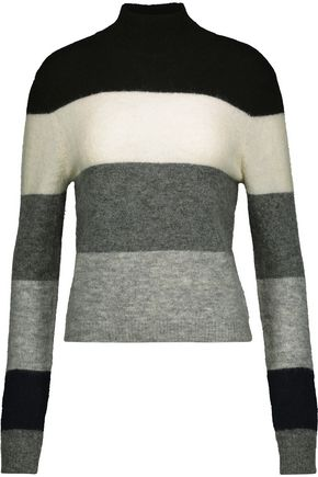 EQUIPMENT FEMME Striped alpaca-blend turtleneck sweater