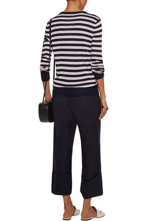 EQUIPMENT Ondine button-detailed striped silk and cashmere-blend sweater