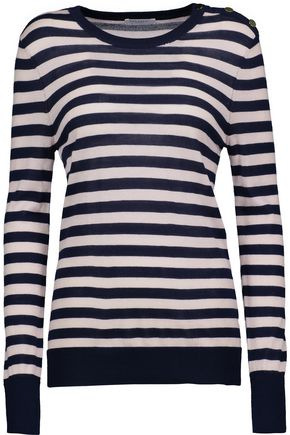 EQUIPMENT Buttoned striped silk and cashmere-blend sweater