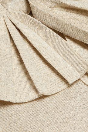 MOSCHINO Bow-embellished metallic wool-blend sweater