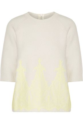 NINA RICCI Lace-paneled wool sweater