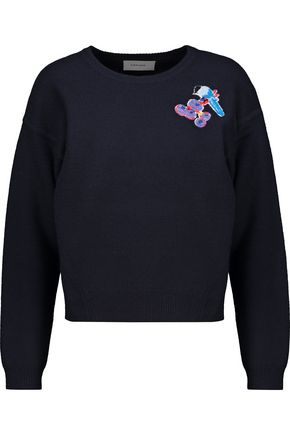 CARVEN Embroidered mélange wool sweater